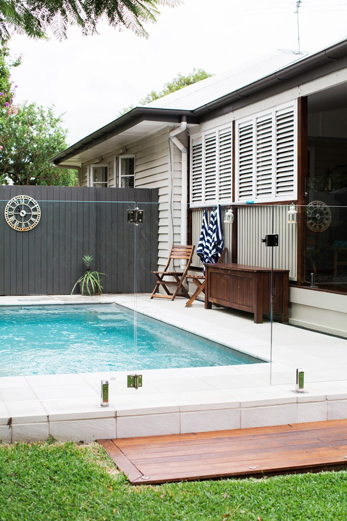 """""""I really like being outside during the summer months, and the pool helps make it feel like a really summery home,"""" says Elizabeth."""