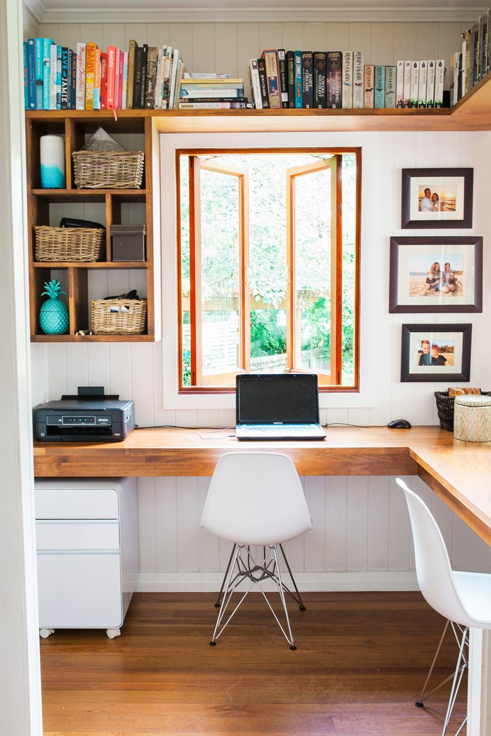 A clever layout in the study, with wall storage shelves and an integrated desk wrapped around the corner, maximises the space.