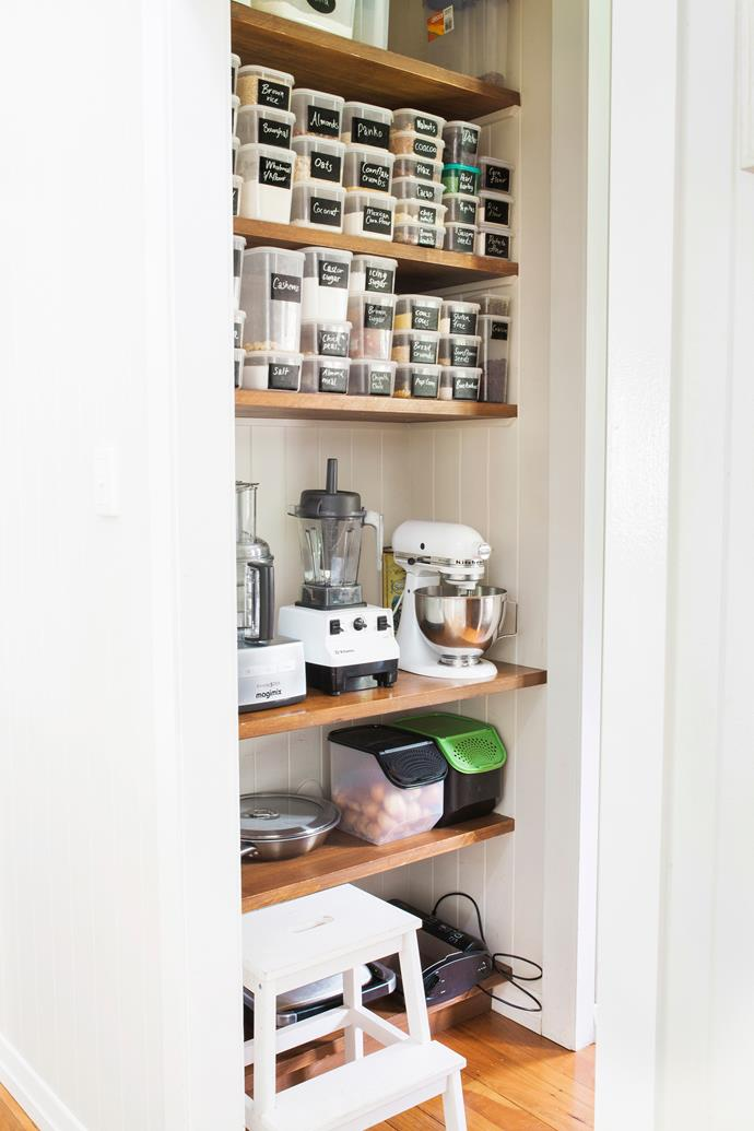 """My pantry storage system works really well because you can see inside each container and can easily change the labels,"" says Elizabeth."