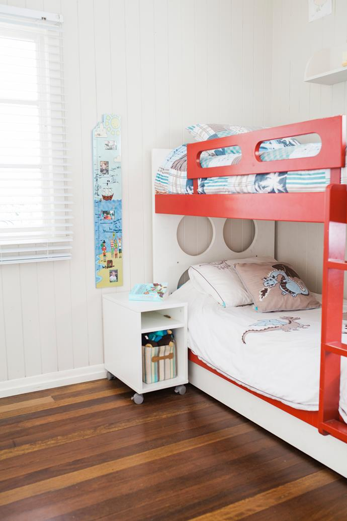 The boys' bedroom is filled with playful yet functional beds from Ikea.