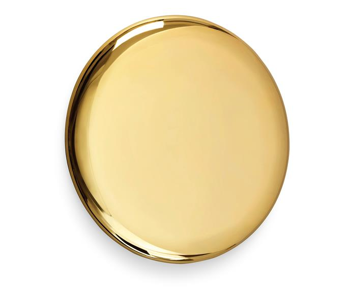 """Michael Anastassiades' penchant for circular themes and reflective surfaces shows in his polished gold-plated 'Beauty' mirror, [Hub](http://hubfurniture.com.au/ target=""""_blank"""" rel=""""nofollow"""")."""