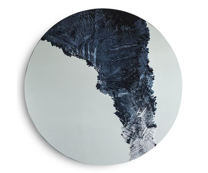 """Mixing hand-dyed sand, powdered glass and cement, 'Drift' mirror by Fernando Mastrangelo references the aesthetic of natural earth formations, POA, [Fernando Mastrangelo](http://www.fernandomastrangelo.com/ target=""""_blank"""" rel=""""nofollow"""")."""