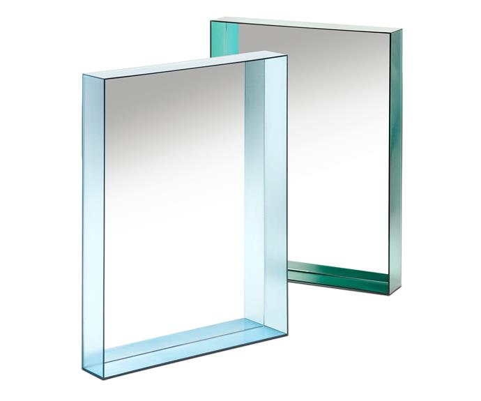 """'Only Me' by Philippe Starck for Kartell, is a series of mirrors encased in a slim transparent coloured frame that embraces the beauty of natural light, $415/each, [Space](http://www.spacefurniture.com.au/ target=""""_blank"""" rel=""""nofollow"""")."""