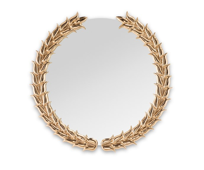 "The 'Pride' gold glazed ceramic mirror by Nika Zupanc for Sé London, was inspired by the Olympics and sports clubs, approx $4285, [Sé](http://se-collections.com/|target=""_blank""