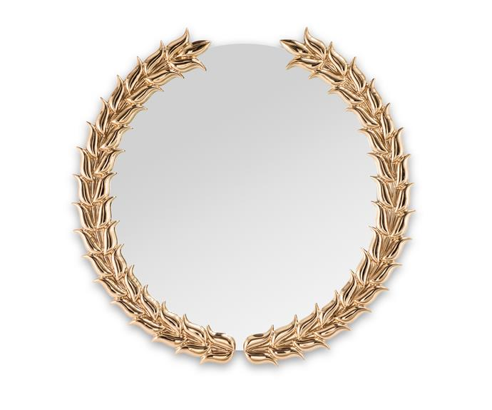 """The 'Pride' gold glazed ceramic mirror by Nika Zupanc for Sé London, was inspired by the Olympics and sports clubs, approx $4285, [Sé](http://se-collections.com/ target=""""_blank"""" rel=""""nofollow"""")."""