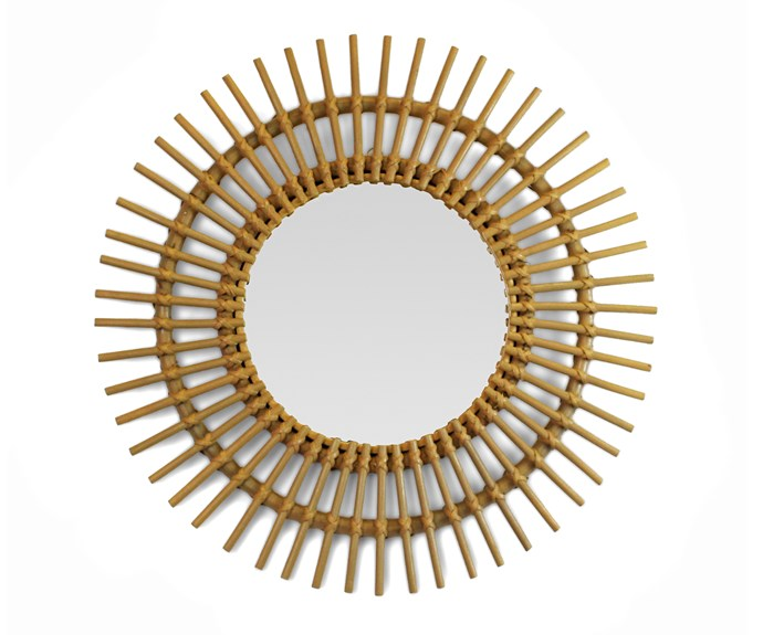 "Framed by a striking bamboo sunburst surround, this mirror will introduce a relaxed coastal vibe to a space, $130, [Safari Living](https://www.safariliving.com/|target=""_blank""