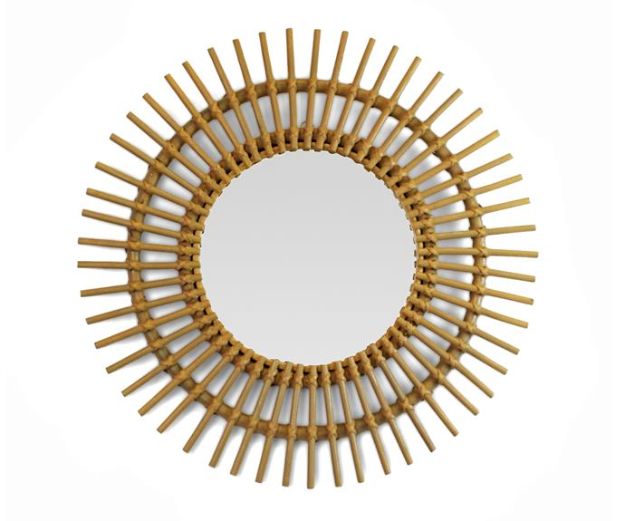 """Framed by a striking bamboo sunburst surround, this mirror will introduce a relaxed coastal vibe to a space, $130, [Safari Living](https://www.safariliving.com/ target=""""_blank"""" rel=""""nofollow"""")."""