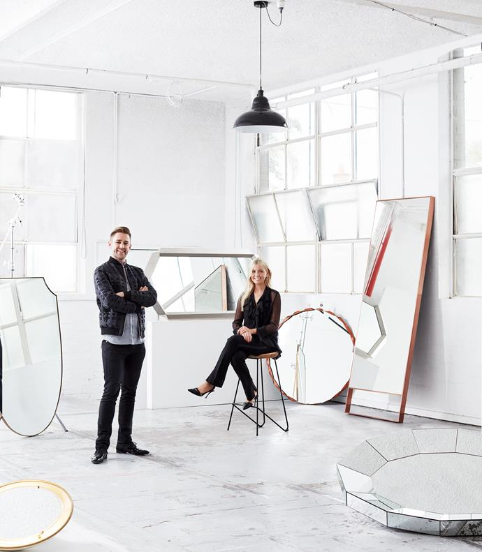 """Interior designer [Travis Walton](http://traviswalton.com.au/ target=""""_blank"""" rel=""""nofollow"""") (pictured with *Belle* interior design editor Lucy McCabe). **Clockwise from top-left: 1.** Elegantly scalloped edges form the armour-like silhouette of the aptly named 'Shield' mirror, POA, [Travis Walton](http://traviswalton.com.au/ target=""""_blank"""" rel=""""nofollow""""). **2.** Tom Dixon's 'Gem' mirror was informed by the facets of semi-precious gemstones and silver ingots, POA, [De De Ce](http://dedece.com/ target=""""_blank"""" rel=""""nofollow""""). **3.** The 'Raperonzolo' mirror by Atelier Oi for Zanotta is framed in interwoven cowhide, $1773, [Space](http://www.spacefurniture.com.au/ target=""""_blank"""" rel=""""nofollow""""). **4.** Thanks to the angled top Maxalto's 'Psiche' floor length mirror can be leaned against a wall making it ideal for use in a dressing room, $4375, [Space](http://www.spacefurniture.com.au/ target=""""_blank"""" rel=""""nofollow""""). **5.** Made using traditional hand-cut methods, the 'Oval Jewelled' mirror by Melbourne-based designer Di Riddell, is like an oversized piece of jewellery, POA, [In Ex Living](http://in-ex.com.au/ target=""""_blank"""" rel=""""nofollow""""). **6.** The 'Illuminated' mirror made by Stilnovo in the 50s integrates a lighting element that radiates a warm glow, $4600, [Nicholas & Alistair](http://nicholasandalistair.com/ target=""""_blank"""" rel=""""nofollow"""")."""