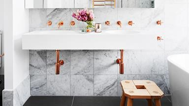 A romantic-industrial marble bathroom