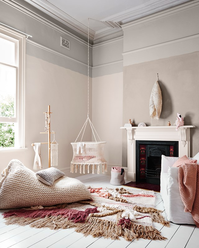 """Cosy, woodland-themed nurseries are huge right now (up 97%), featuring tree wall decals and wood accents. Gender-neutral nurseries, last year's favourite, are down 90%. *Bree Leech & Heather Nette King for [Dulux Colour Trends 2017 – Sentience Palette](http://www.homestolove.com.au/dulux-takes-a-soft-approach-to-autumn-4705