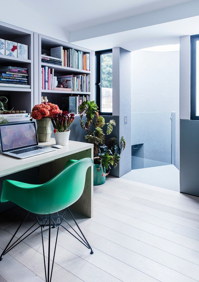 The home office is a cool and quiet place to work. Eames armchair, [Living Edge](https://livingedge.com.au/).