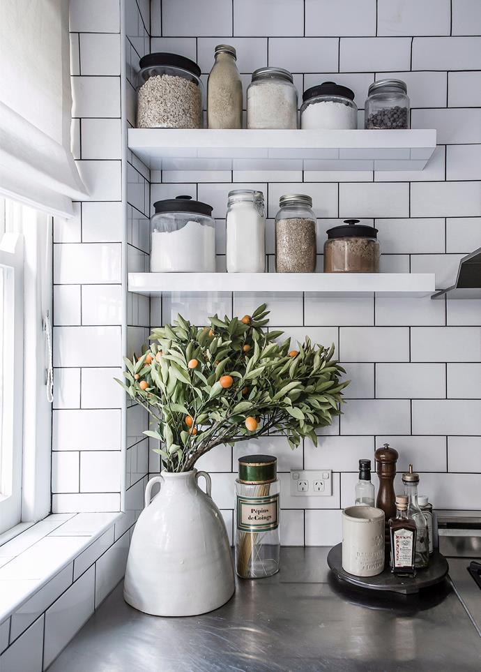 Corner shelves like these make dead space useful and give you a place to display homewares and personalise your kitchen.