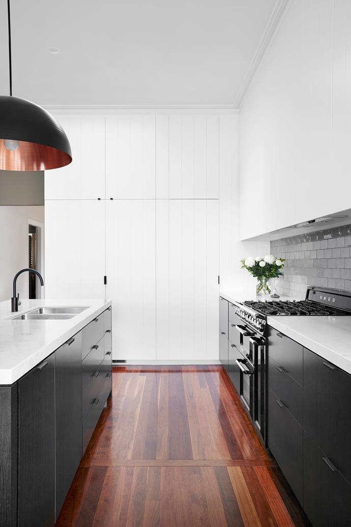 """""""I like the way this kitchen blends into the old part of the house, yet is so light and fresh,"""" says Stewart."""
