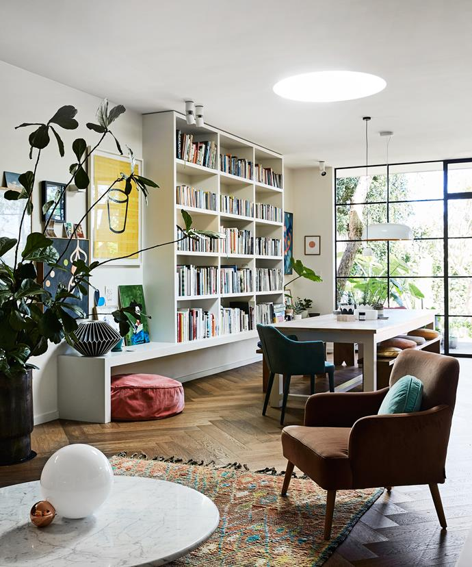 A gorgeous touch in this space is the round skylight, which casts an orb-like beam  of sunshine. Rachel has introduced different textures with a Baker velvet armchair by [Arthur G](http://www.arthurg.com.au/) and a vintage Moroccan floor rug from [Koskela](http://www.koskela.com.au/).