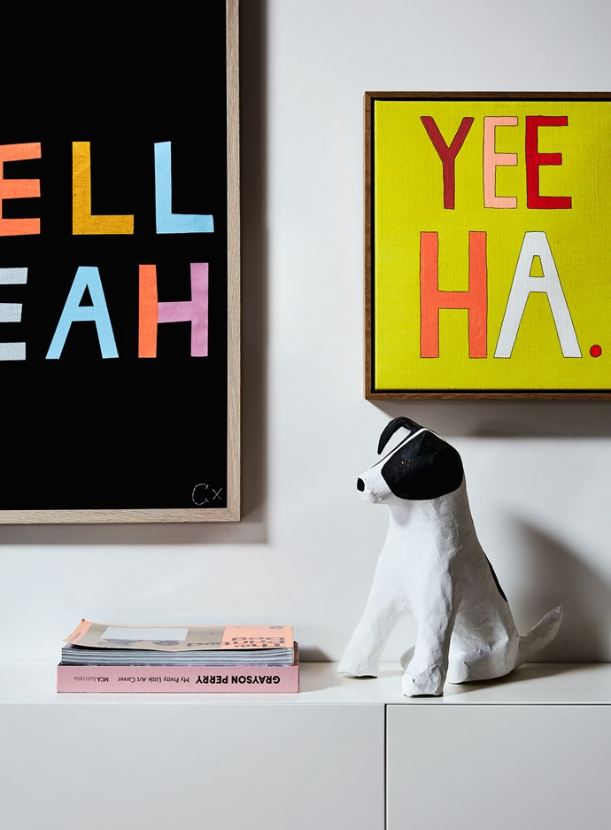 """""""I totally love, love this dog so much,"""" Rachel says of the quirky little pooch in her living room. """"It's a precious papier mâché puppy that I bought at the MCA gift shop."""""""