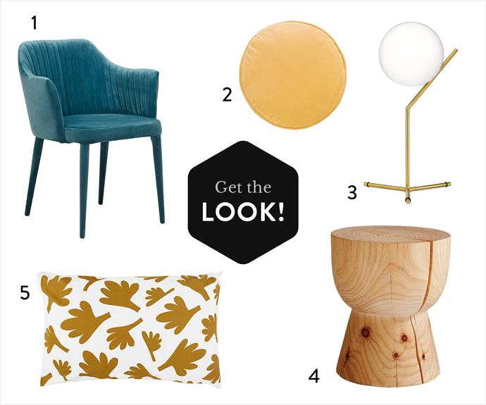 Shop Rachel's style! 1. Carter velvet armchair in Teal, $495, [Globe West](http://www.globewest.com.au/). 2. Penny Round cushion, $79, [Castle](https://www.castleandthings.com.au/). 3.Copycat lamp by Michael Anastassiades for Flos, $1330, [Euroluce](http://euroluce.com.au/). 4. Eggcup Radiata pine soaped stool, $550, [Mark Tuckey](http://www.marktuckey.com.au/) . 5. Fern cotton pillowcase, $49, [Castle](https://www.castleandthings.com.au/).