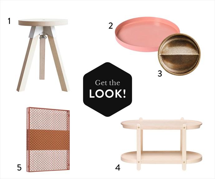"""1. Henry Wilson """"A3-joint"""" stool, $395, [Cult](http://www.cultdesign.com.au/ target=""""_blank"""" rel=""""nofollow""""). 2. Cinnamon tray in Medium/Clay, $55, [Lightly](https://www.lightly.com.au/ target=""""_blank"""" rel=""""nofollow""""). 3. Vide Poche Rond dish in Gunmetal Bronze, $220, [Henry Wilson](http://henrywilson.com.au/ target=""""_blank"""" rel=""""nofollow""""). 4. Iittala """"Kerros"""" shelf, $297, [Finnish Design Shop](https://www.finnishdesignshop.com/ target=""""_blank"""" rel=""""nofollow""""). 5. HAY """"Pinorama"""" small bulletin board in Wine, $280, [Cult](http://www.cultdesign.com.au/ target=""""_blank"""" rel=""""nofollow"""")."""