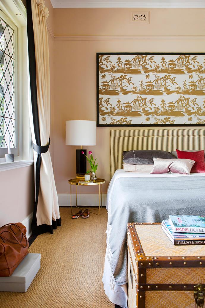 A swathe of Rubelli Tea Time fabric was framed as an artwork, creating a luxe hotel vibe in the master bedroom.