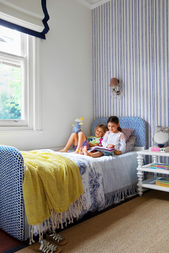 Anna Spiro Higgeldy Piggeldy wallpaper and antique wall lights carry through the regal style into the kids bedrooms. Elaine personalised Ikea beds for the children by upholstering the headboards and bed ends in Jim Thompson Chana fabric.