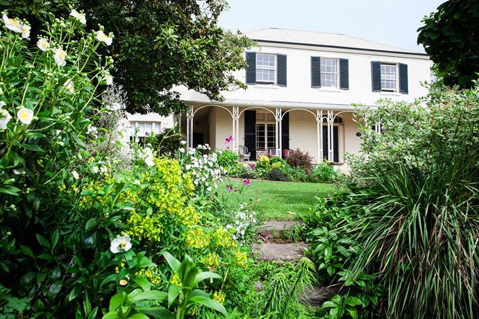 The verandah of this 1840s home in Launceston is a prime spot for enjoying views of the garden. In the foreground are Carpentaria acuminata, euphorbia and Cornus alba 'Elegantissima'.