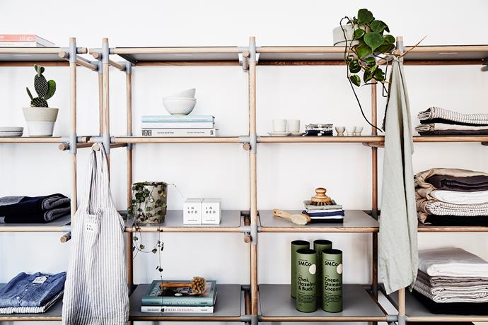 "All the In Bed wares are displayed beautifully on a Menu ""Stick System"" shelving in a way that feels more like a home than a retail space."