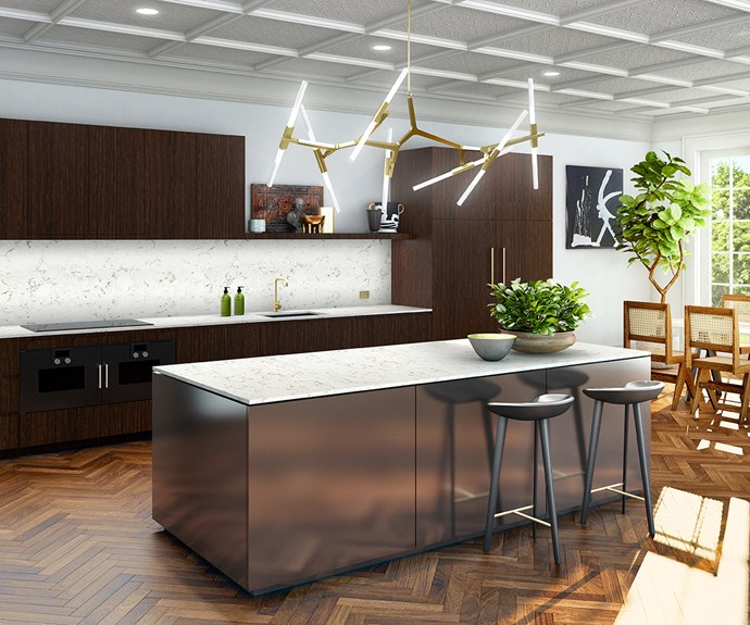 The interior stylist served as a muse for this Laminex mineral style kitchen. The dark tones set against white textured decor with striking metallic accents perfectly embody Steve's tailored luxe style. *Photo: Laminex*
