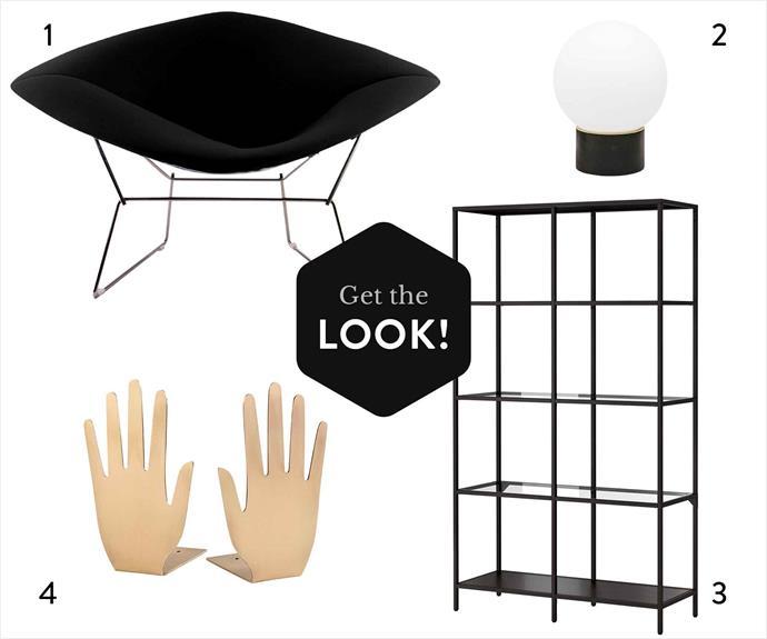 "**1.** Replica Harry Bertoia Large Diamond chair in Black, $995, [Matt Blatt](https://www.mattblatt.com.au/|target=""_blank""|rel=""nofollow""). **2.** Valo table light in Black, $179, [Country Road](https://www.countryroad.com.au/|target=""_blank""|rel=""nofollow""). **3.** Vittsjö shelving unit (1m x 1.75m), $129, [Ikea](http://www.ikea.com/au/en/|target=""_blank""|rel=""nofollow""). **4.** Jonathan Adler ""Globo"" box in Large, $495, [Coco Republic](http://www.cocorepublic.com.au/|target=""_blank""|rel=""nofollow"")."