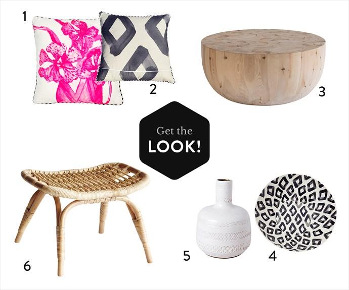 "1. Vanda Pink **cushion**, $155, [Bonnie and Neil](http://www.bonnieandneil.com.au/|target=""_blank""|rel=""nofollow""). 2. St Tropez Capri Square **cushion**, $149.95, [Tallulah](https://www.talulah.com.au/collections/home|target=""_blank""|rel=""nofollow""). 3. Mega Drum **coffee table**, $3950, [Mark Tuckey](http://www.marktuckey.com.au/|target=""_blank""|rel=""nofollow""). 4. Capri Large **serving bowl**, $129.95, [Tallulah](https://www.talulah.com.au/collections/home|target=""_blank""|rel=""nofollow""). 5. Ceramic **vase**, [Have You Met Miss Jones](http://www.jonesandco.com.au/|target=""_blank""|rel=""nofollow""). 6. **Ottoman** in Natural, $129, [The Family Love Tree](https://thefamilylovetree.com.au/|target=""_blank""|rel=""nofollow"")."