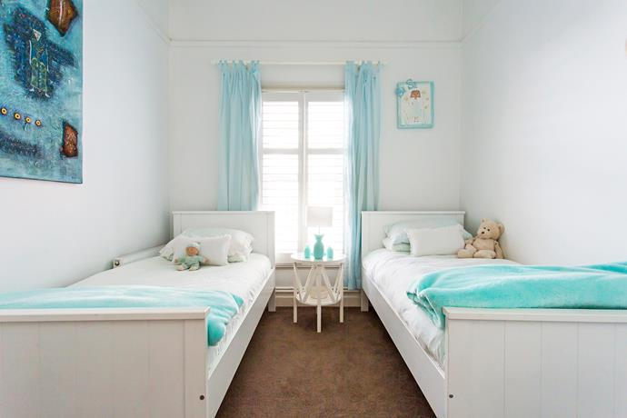 White bunks, originally for Sienna and Madison, are separated into spare beds that are used in the spare room for sleepovers.