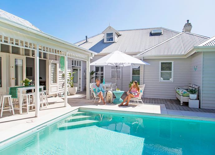 """This house is most definitely living up to the vision that I had for it,"" says Deb. ""During summertime, we almost never leave! The kids' friends are always here for a swim, and casual barefoot barbecues and pool parties are the norm on any given day."""