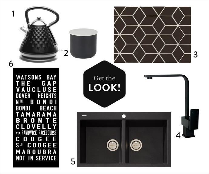 "1. Stainless steel electric **kettle** in Black, $39, [Kmart](http://www.kmart.com.au/|target=""_blank""|rel=""nofollow""). 2. Altu marble lid **box**, $24.95, [Amalfi Homewares](http://amalfihomewares.com.au/|target=""_blank""|rel=""nofollow""). 3. Mosaic Rubix black gloss **tiles**, $98 a sq m, [Beaumont Tiles](http://www.beaumont-tiles.com.au/|target=""_blank""|rel=""nofollow""). 4. Innova ""Nautica"" squareneck **kitchen mixer** in Black, $209, [Bathware Direct](https://www.bathwaredirect.com.au/|target=""_blank""|rel=""nofollow""). 5. Oliveri Pietra topmount **sink**, $831, [Appliances Online](https://www.appliancesonline.com.au/|target=""_blank""|rel=""nofollow""). 6. Stretched **canvas** artwork, $160 (small), [Tram Scrolls](http://www.tramscrolls.com.au/|target=""_blank""|rel=""nofollow"")."