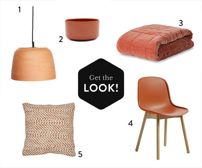 1. Anchor Ceramics Potter **Light** (small) in Terracotta, $688, Koskela. 2.Cotton On Home Cera **Dip Bowl** in Tumeric, $9.95, Cotton On. 3.Washed Velvet Square Stitch **Quilted Throw** in Paprika, $179, Citta. 4. Wrong for Hay 'Neu 13' **chair** in orange, $440, Cult. 5. Barnett Spark **cushion** in Terracotta, $70, Globe West.