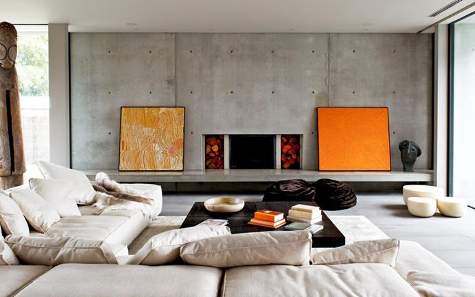 "Concrete interior of home in Brighton. Image via [Robert Mills Architects and Interior Designers](http://www.robmills.com.au/ocean-house/ |target=""_blank""