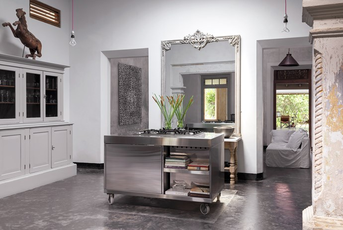 Stainless-steel mobile cooker made in Kandy. Mobile kitchen bench by The Workshop Training Centre in Bentota. The French mirror was an overmantel mirror in Judith's Georgian house in Scotland.