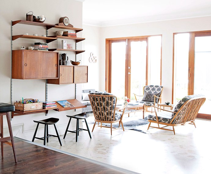With cabinets, shelves and a desktop, this versatile unit makes good use of vertical space.