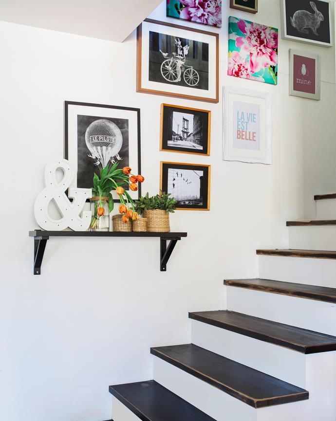 Small space? Put up an easy-to-install wall shelf.