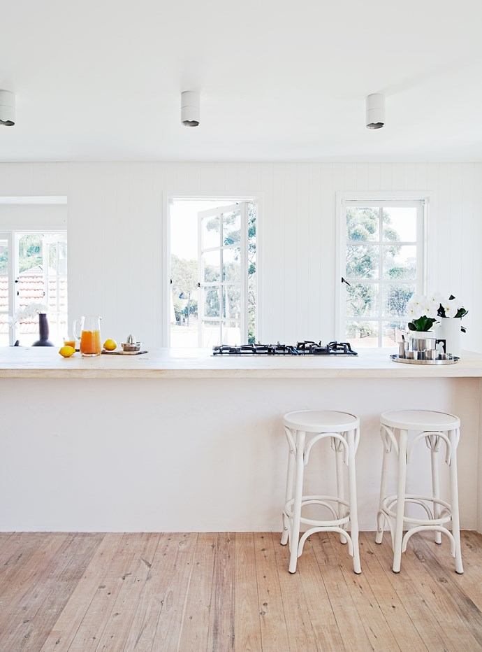 The kitchen benchtops are made from pine, whitewashed and oiled. The floors are also whitewashed pine, only with a polyurethane coating.