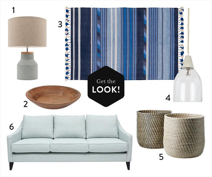 "1. Moby table **lamp** in Natural Linen, $119, from Life Interiors. 2. Tazza shallow **bowl**, $199.95, from Grand Designs Home Collection. 3. Flip **rug** in Blue/Silver, small, $795, from Amigos de Hoy. 4. Tolosa glass **pendant light**, $159, from Schots Home Emporium. 5. Home Republic ""Zambeze"" **basket** in Black or White/Natural, $59.95 each, from Adairs. 6. Kate 3-seater **sofa** in Matrix Opal, $2199, from Oz Design Furniture."