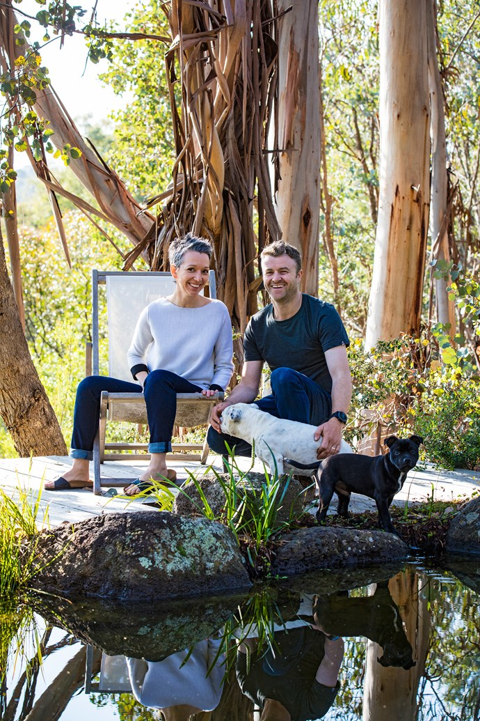 """Sam designed the pond and waterfall when he was excavating for the house. """"I wanted to bring nature right up to the back door,"""" he says."""