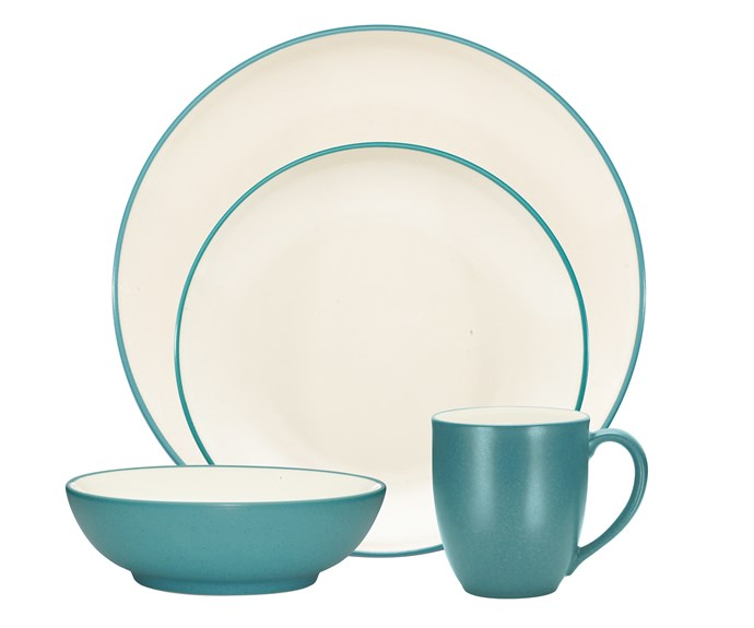 Colorwave 16-piece stoneware dinner set in Turquoise, $382, [Noritake](https://www.teddingtons.com.au/noritake-colorwave-turquoise-dinner-set-16pc).