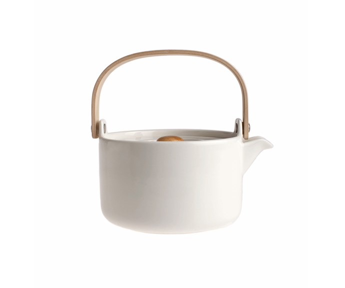 Oiva ceramic teapot with wooden handle, $99, [Marimekko](http://shop.davidjones.com.au/djs/ProductDisplay?catalogId=10051&productId=6707004&langId=-1&storeId=10051&cm_mmc=googlesem-_-PLA-_-Home+and+Garden+-+Kitchen+and+Dining+-+Tableware+-+Dinnerware-_-Marimekko+Oiva+Teapot&gclid=EAIaIQobChMI5pDP2Y7-1gIVFyRoCh0D_QEREAQYAiABEgI7aPD_BwE&gclsrc=aw.ds).