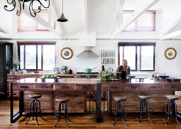 A recycled-timber island bench reigns supreme in the kitchen of this [Southern Highlands barn conversion](http://www.homestolove.com.au/gallery-brigid-and-kevins-southern-highlands-barn-conversion-2076). *Photo: Chris Warnes*