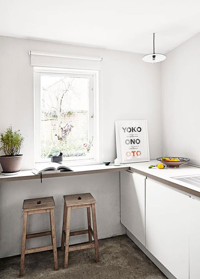 "Unpolished concrete floors and wooden stools give this [renovated 1880s Victorian terrace](http://www.homestolove.com.au/a-victorian-terrace-with-vintage-scandi-style-4793|target=""_blank"") a raw and authentic Scandi feel. Photo: Birgitta Wolfgang Drejer"