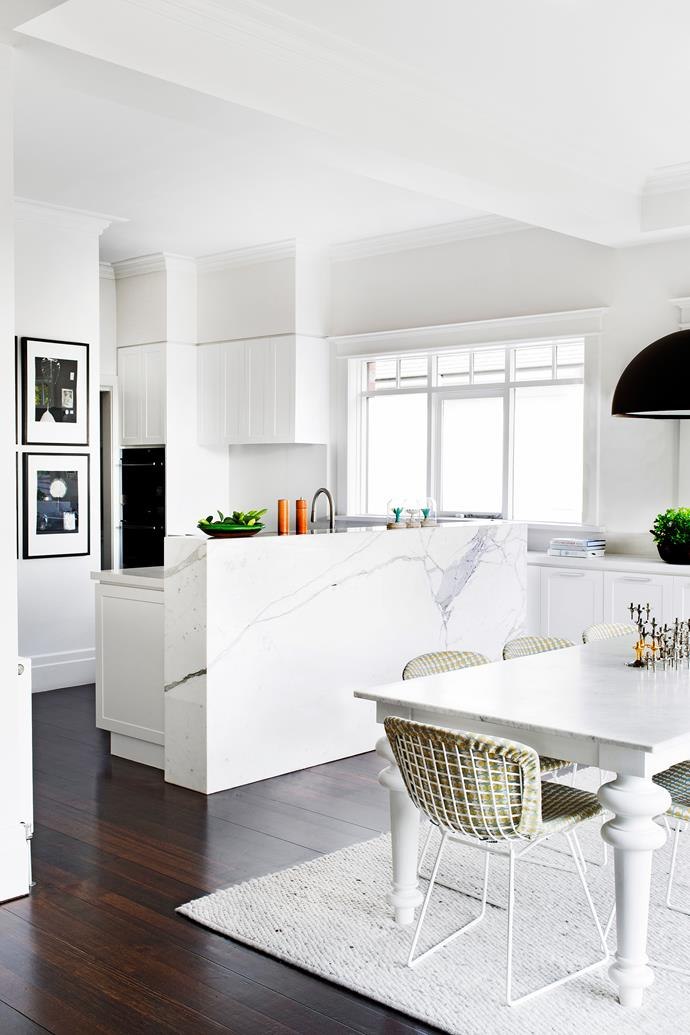 Calacatta marble elevates the cooking space and adds a touch of luxe.