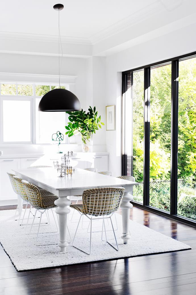"""""""Finding comfortable chairs was part of the brief here,"""" says interior architect Sally Richardson. Bertoia chairs, from Dedece. Table, from Anibou."""
