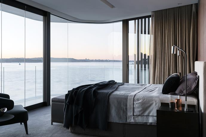 Custom bedhead, bedside tables and ottoman by Hare + Klein. Bed linen from Analu. Society linen throws from Ondene.