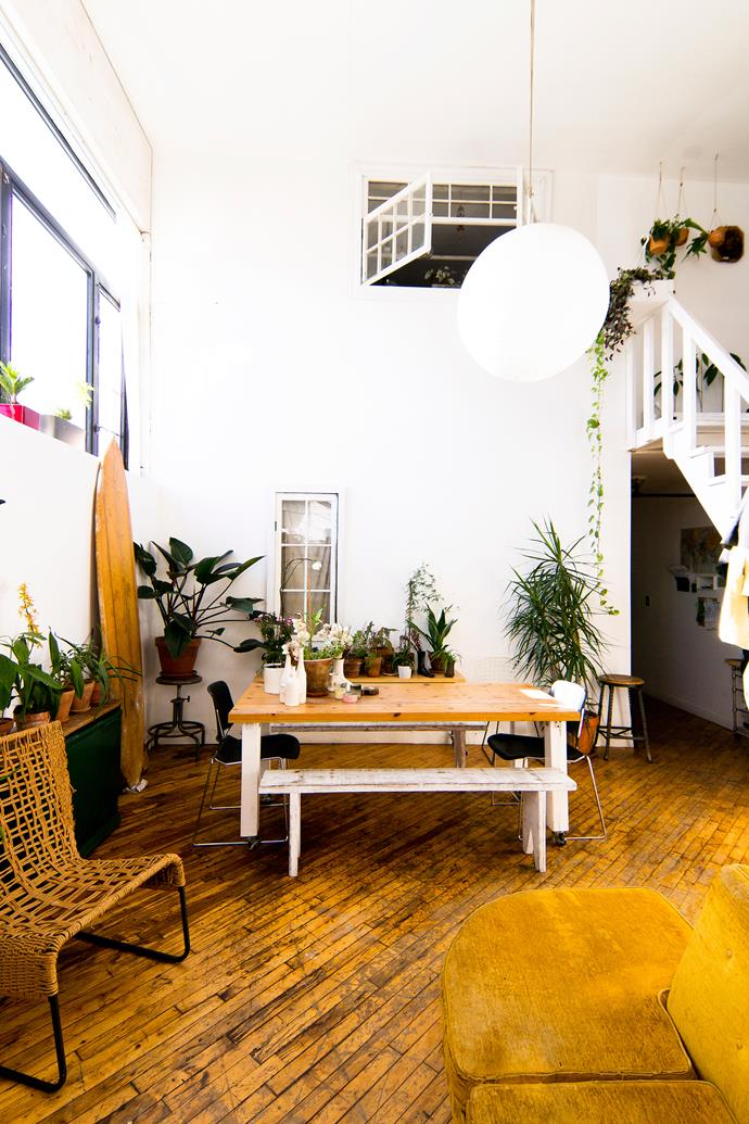 A huge variety of plants brings nature into the urban dwelling, with any surface becoming a plant stand – including tables, stools and windowsills. Jessica is the plant lady, taking care of the greenery inside while Simon looks after the rooftop garden.