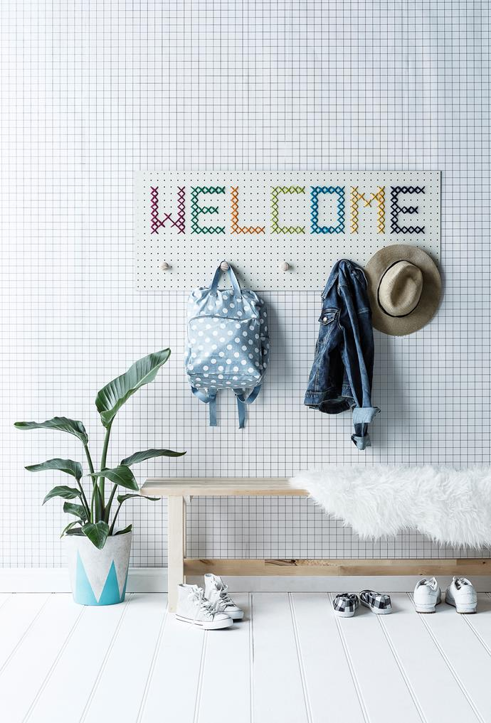 """[Get the instructions for this DIY cross-stitch coat rack>](http://www.homestolove.com.au/diy-pegboard-coatrack-4683