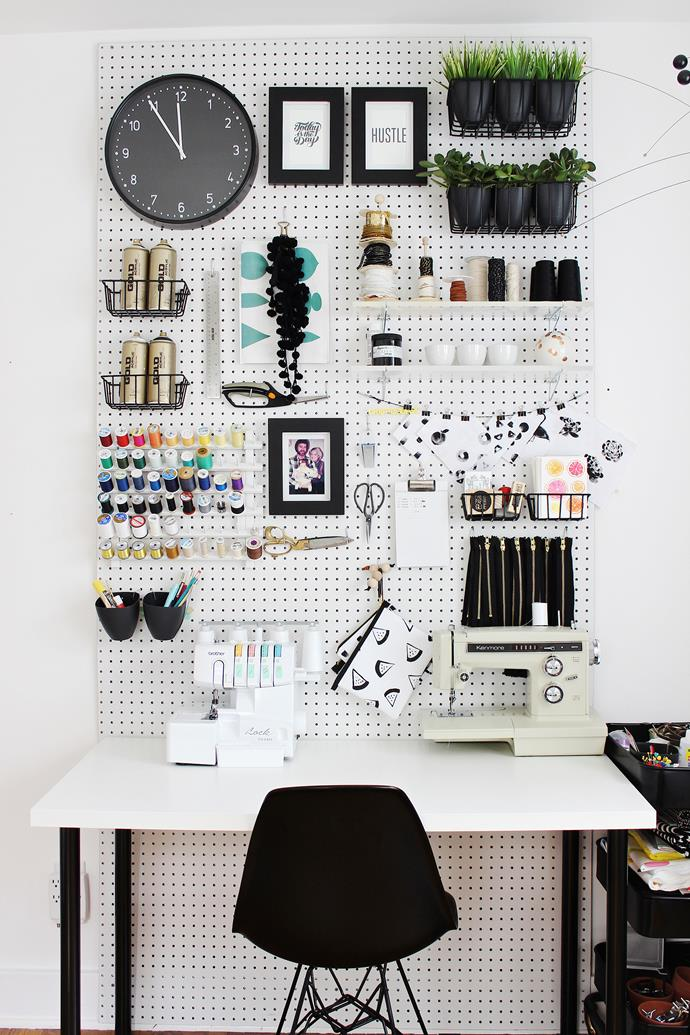 Back your desk with a large pegboard and fill it with colour coordinated accessories. Photo: Mandy Pellegrin / bauersyndication.com.au