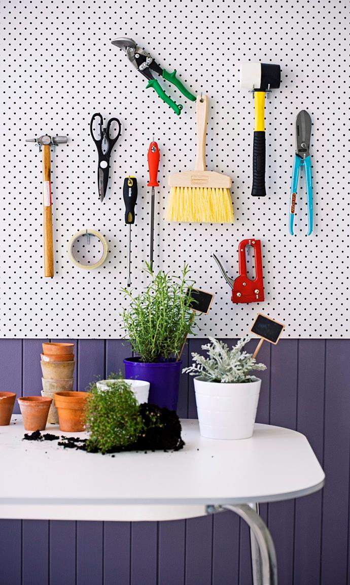 This is also a great way to store gardening  equipment. Photo: Maree Homer / bauersyndication.com.au